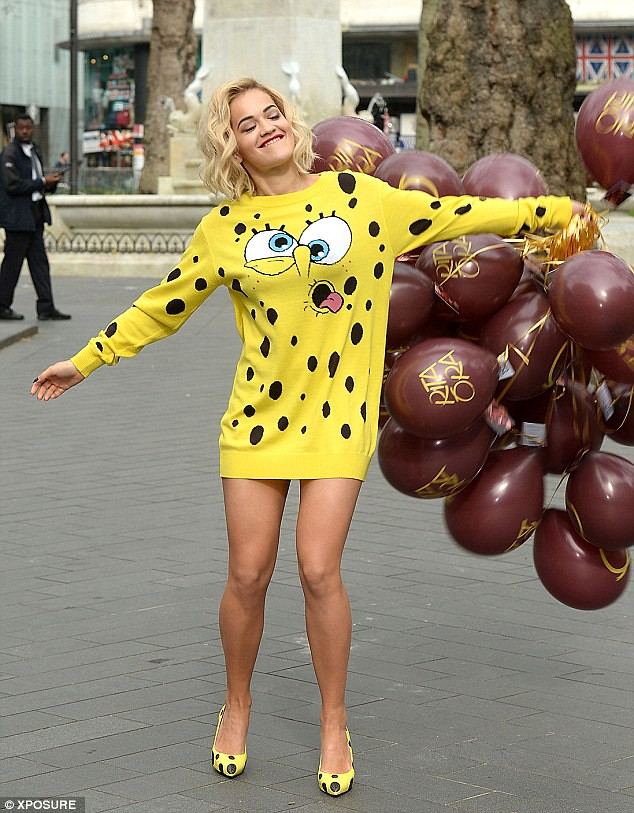 sweater-worn-as-a-dress, SpongeBob SquarePants dress, black and yellow dotted heels, black & yellow polka dot shoes,  SpongeBob sweater, Jeremy Scott's Moschino AW14 collection