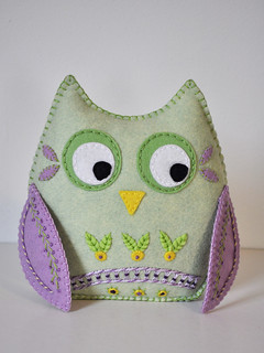 Spring Owl - green and mauve