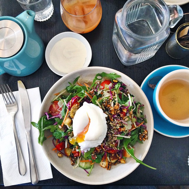 When in Bondi...  Back at the usual @loxstockandbarrel for salad with an egg on top. Hello Saturday. #eattherainbow