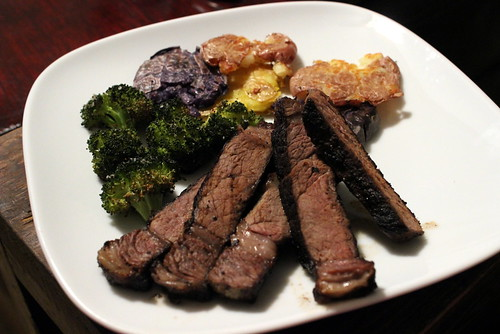 Steak with Roasted Broccoli and Smashed Potatoes