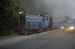 Darjeeeling Himalayan Railway Toy Train on a foggy day