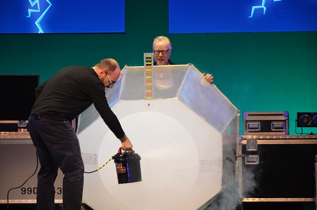 Adam (Mythbusters) and Michael (Vsauce) preparing brain candy