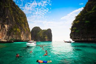Tourist snorkeling on Maya bay Phi Phi island, Krabi Thailand