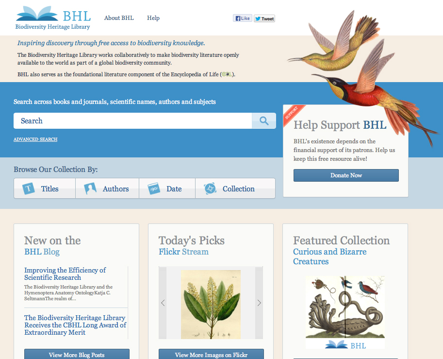 The new BHL homepage!