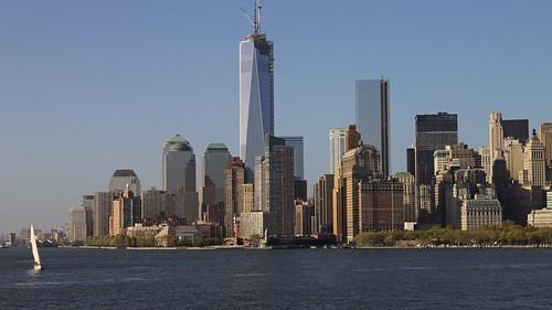 Vue sur Lower Manhattan depuis le ferry de Staten Island