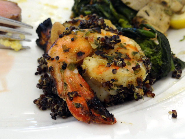 Grilled shrimp with quinoa