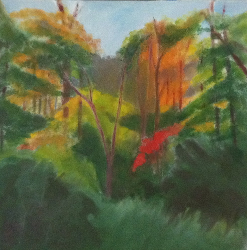 Red Leaves in the Woods (Oil Bar Painting as of June 3) by randubnick