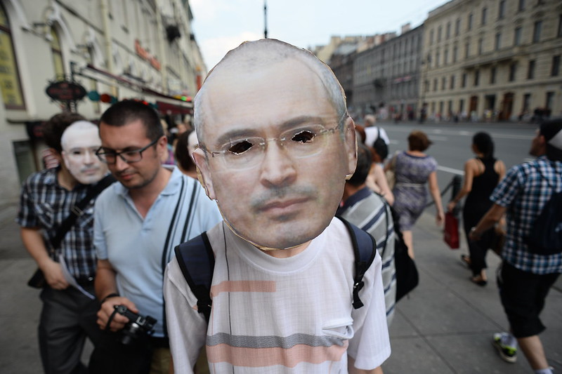 Flash-mob in support of Mikhail Khodorkovsky held in St. Petersburg