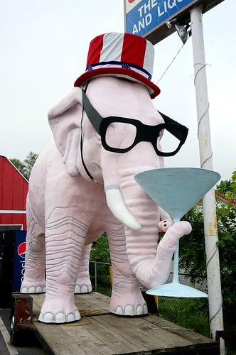 Martini drinking pink elephant - US 36, Fortville, Indiana