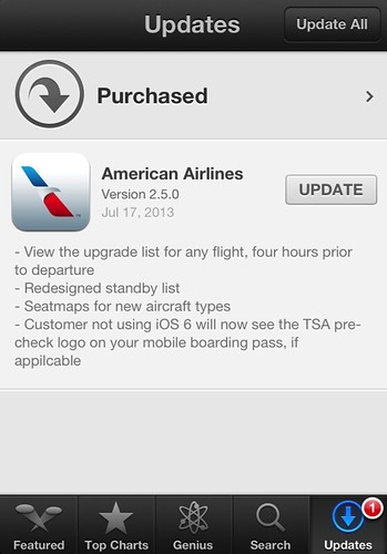 American Airlines iOS App upgrade