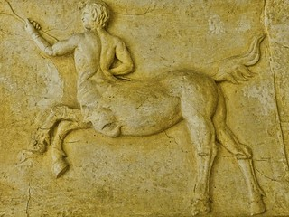 A frieze depicting a centaur recovered from the ancient Roman theater at Orange, France 2nd century CE