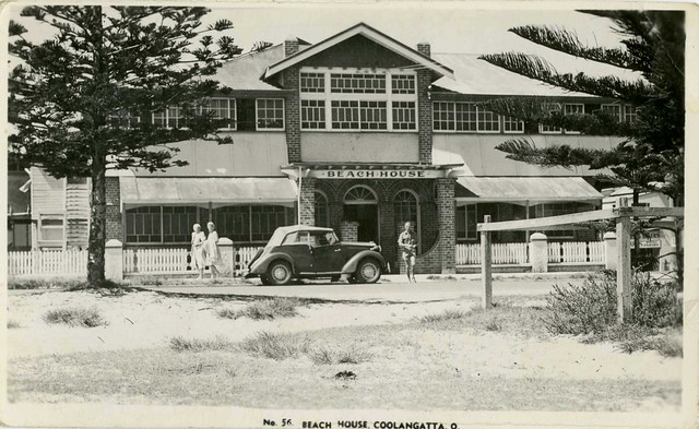 Photographic postcard showing the Beach House Coolangatta