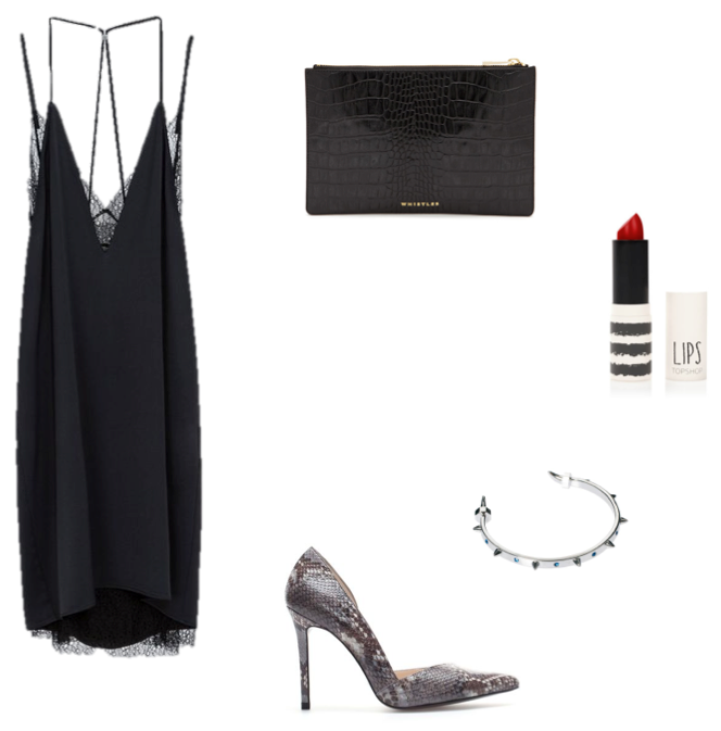 Zara lace detail dress Whistles croc clutch Maria Francesca Pepe bracelet