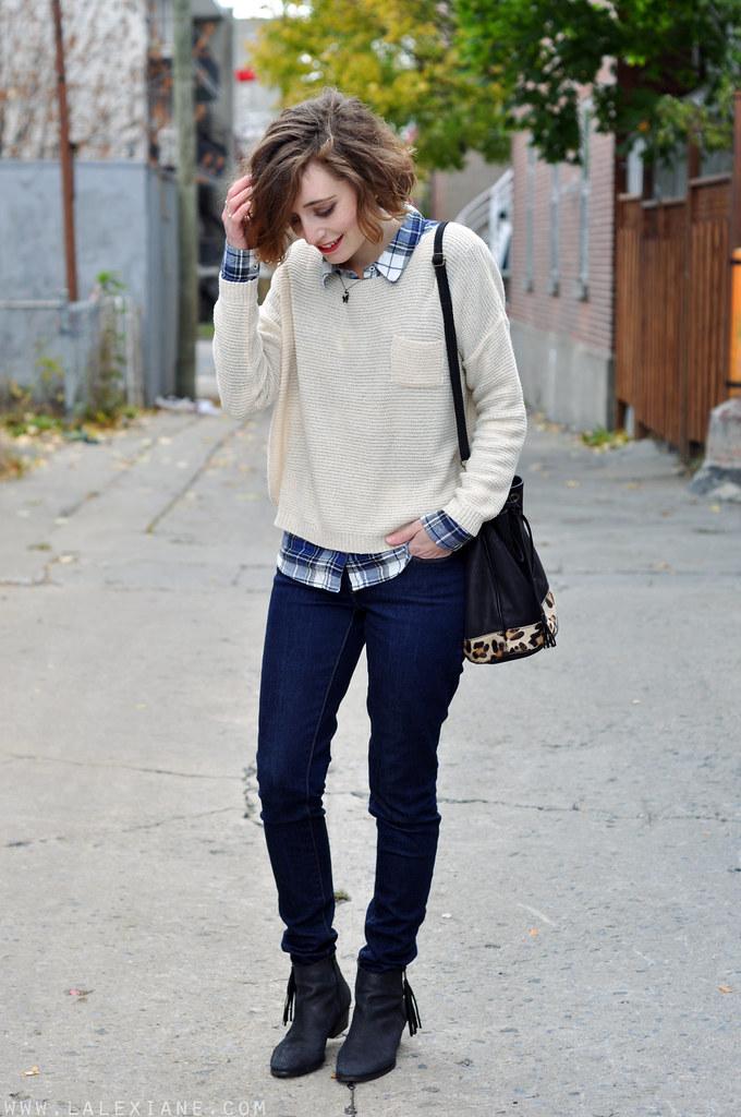 Pull beige et carreaux blog maman mode et beaut for Pull a carreaux