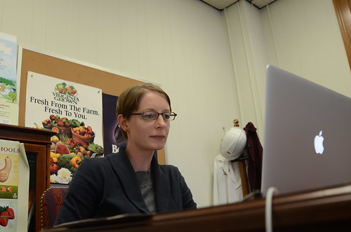 U.S. Department of Agriculture (USDA) National Coordinator for Local and Regional Food Systems Elanor Starmer leads a live Google+ Hangout to discuss the importance of a comprehensive Food, Farm and Jobs Bill to local and regional food systems at USDA on Thursday, Nov. 21, 2013. USDA photo by Thomas Witham.
