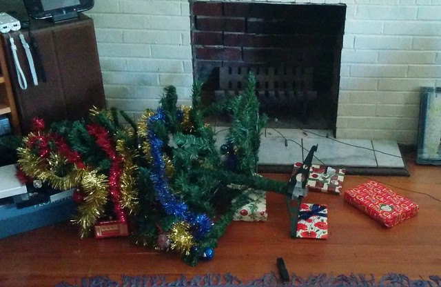 Christmas tree fallen over
