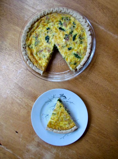 Piece of Ham and Spinach Quiche