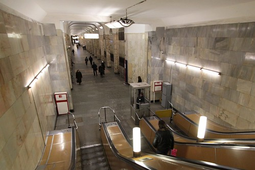 Looking down the escalators to the platform