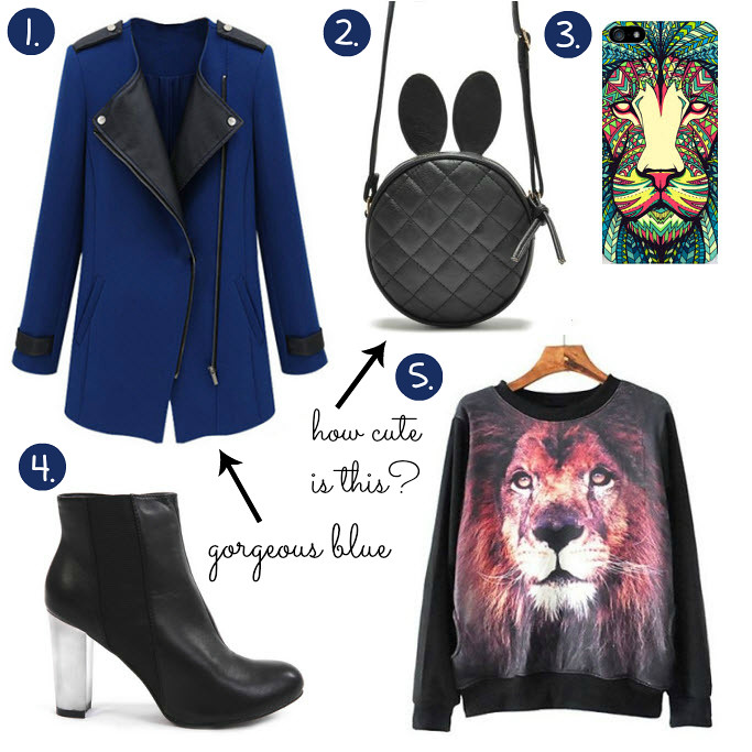 Cheap Friday- Ebay bargains #19. Maddie's guide on Ebay clothing, shoes and accessories. This weeks Ebay bargains include items like a blue coat with leather details, rabbit ear satchel bag, lion face iphone samsung cover, lion face sweater, black boots with transparent heel