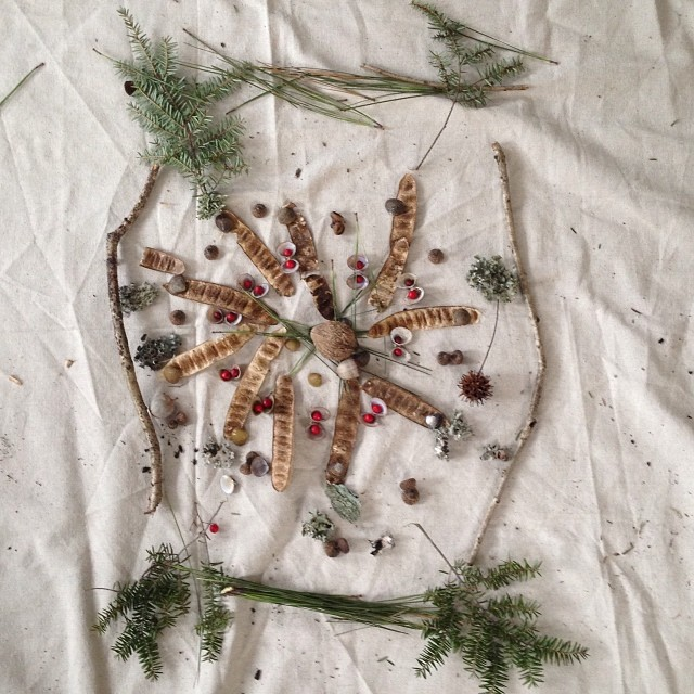 "Mandala by students at RMCS, made with treasures found in my woods. They made this after we spent some time listening to Pete Seeger songs. ""A time to build up, a time to break down A time to dance, a time to mourn A time to cast away stones, a time to ga"