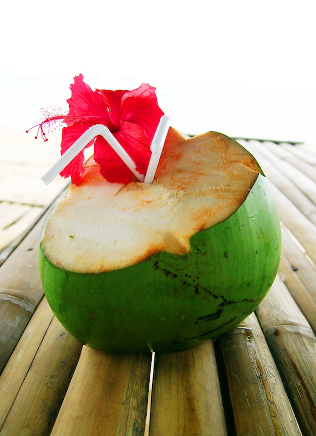 El Nido Nacpan beach fresh coconut juice