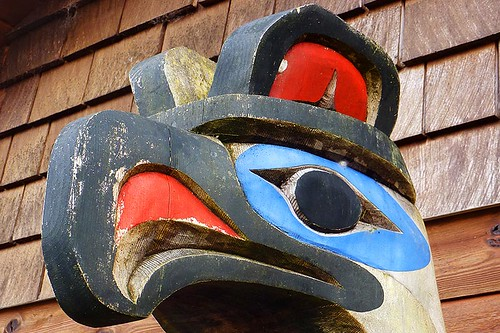 Totem Pole in Port Renfrew, South Vancouver Island, British Columbia, Canada