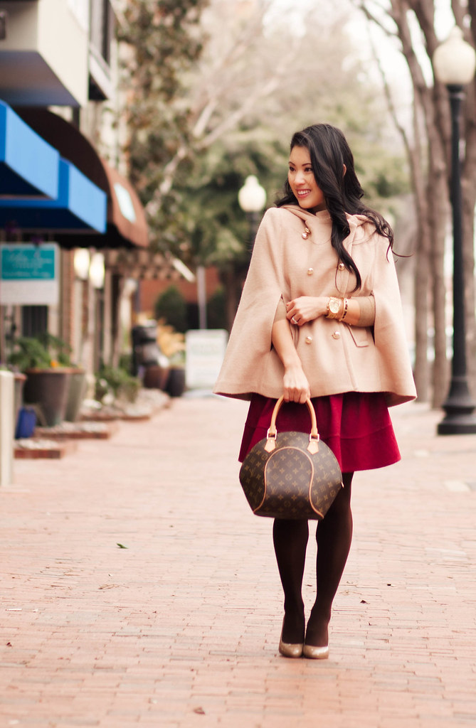 cute & little blog | sheinside cape, j. crew sweater, sheinside pleated wine flare skirt, bow belt, brown tights, louis vuitton ellipse | winter cold weather outfit