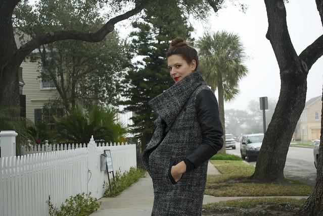Mood Fabrics wool and leather coat