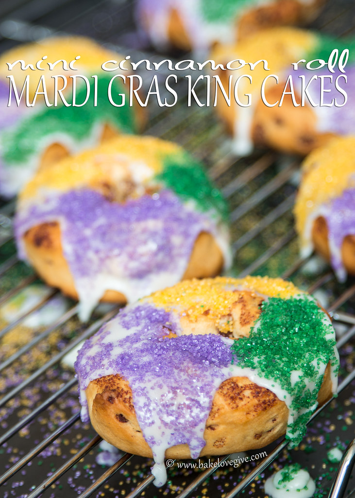 Mini Cinnamon Roll King Cakes are an easy Mardi Gras treat any time of day. Transform cinnamon rolls into festive treats with this easy recipe - laissez les bon temps rouler!