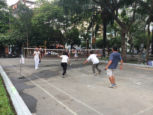 Adult badminton game