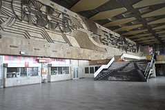 Sofia Central Railway Station and its large Art Deco sculptural wall mural