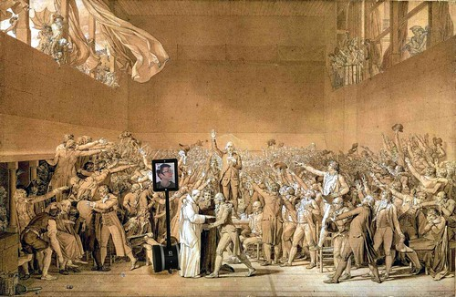 A bot at the Tennis Court Oath