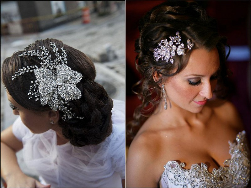 Bridal Styles brides wearing crystal combs