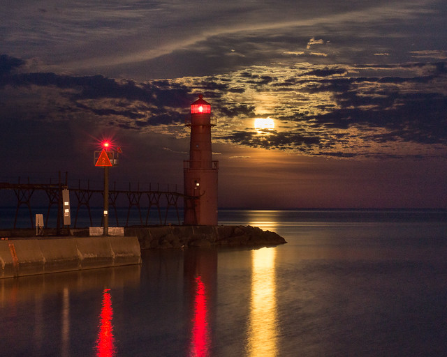 Full Moon, Lighthouse, Algoma, Wisconsin, Night, Lights, Clouds