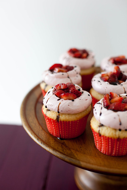 Strawberry Balsamic Cupcakes