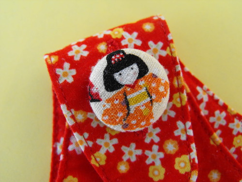 Kokeshi Tea Party - Orange Button