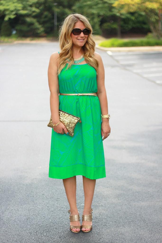 green fern print dress summer outfit