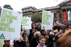 Greens posters in the crowd at Refugee Action protest 27 July 2013 Melbourne