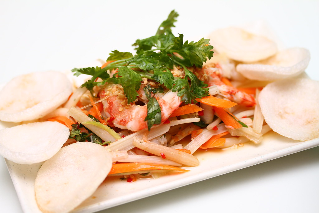 Wrap & Roll: Lotus shoot salad with prawns