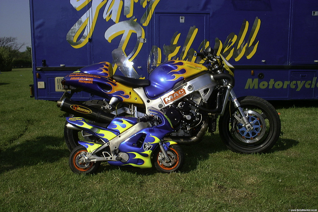 Gary and Joan Rothwell Southport motorcycle line up Suzuki GSX1300R Turbo