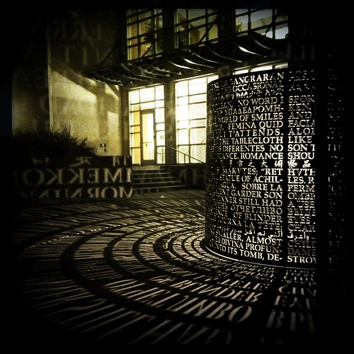 Artist Jim Sanborn's illuminated sculpture outside the M.D. Anderson Library at the University of Houston