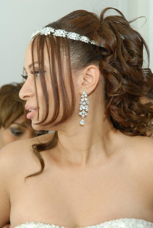 Kim Kardashian inspired bridal headband, dramatic CZ chandelier earrings