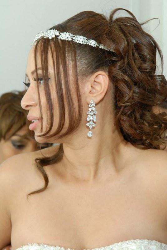 Kim Kardashian inspired bridal headband, dramatic CZ chandelier earrings