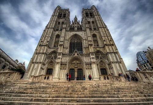 The facade of Brussels Cathedral