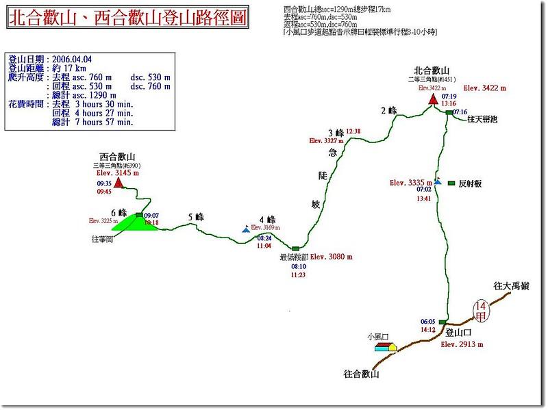合歡西、北峰登山路線圖