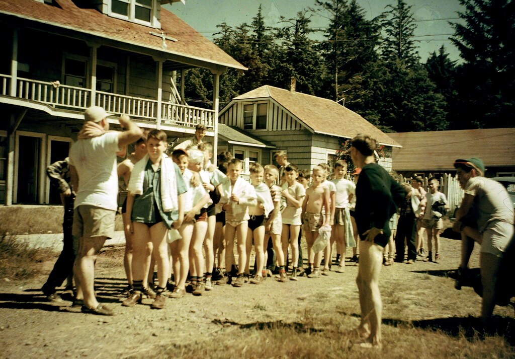 "Boys church Camp 1940""s Twin Rocks Oregon Coast"