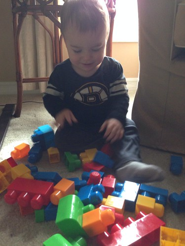 Elliott Playing with Blocks