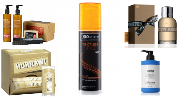 Uppercut Deluxe Essentials Wash Kit, Hurraw Vanilla Bean Lip Balm, TRESemme Texture Style Velvet Creme, Molton Brown Re-Charge Black Pepper Eau de Toilette and Baxter of California Invigorating Body Wash Bergamot and Pear