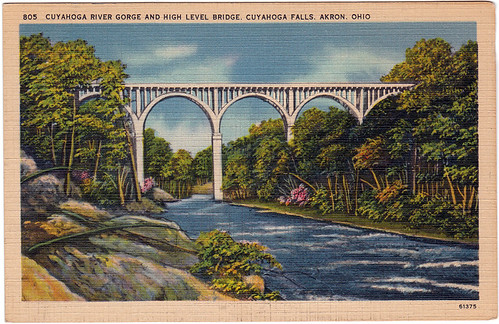 Cuyahoga River Gorge and High Level Bridge, Cuyahoga Falls, Akron, Ohio (Date Unknown)