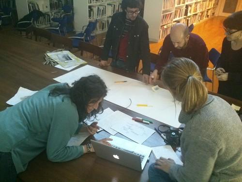 Proceso de trabajo sobre uno de los mapas colectivos